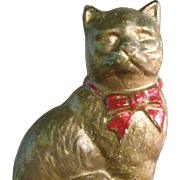 """SALE 4"""" Cast Iron Metal Cat Bank White Undercoating Gold Paint"""