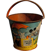 "SALE 1938 3"" Litho Ohio Arts Bryan OH Disney Mickey Sand Pail Ice Cold Drinks"