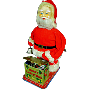 "9.5"" Working Vintage Wind Up Mechanical Santa Bell Presents Box"