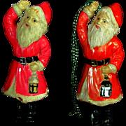 SALE Pair Vintage Celluloid Santa Claus Ornament Figure
