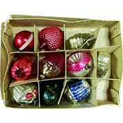 Box Antique Glass German Feather Tree Mercury Ornaments Flower Basket Heart more