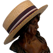 SOLD VINTAGE MEN'S STRAW BOATER HAT PETERSHAM RIBBON BY DISNEY HATTER CO. 1920S