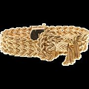 4 Row 14 Karat Gold Solid Rope Double Tassel Bracelet