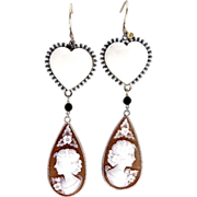 Vintage Heart Angel Skin Coral Carved Cameo 9k Yellow Gold Dangle Earrings