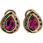 Estate 14 Karat Gold Pear Pink Tourmaline & Full Cut Diamond Clip Post Earrings