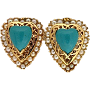 Vintage 1950s Heart Shaped Turquoise and Cultured Pearl 14 Karat Yellow Gold Earrings