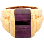 Henry Dunay Hammered Crescent 7.00 Carat Ruby Gold Ring