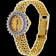 Ladies Omega 1960's 18k Yellow Gold Band Diamond Dial Watch