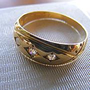 British Hallmarked Old Mine Cut Diamond Gypsy Ring (1897) 18 k Gold
