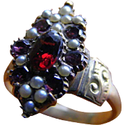 Antique Garnet, Pink Topaz and Natural Seed Pearl Ring