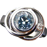 Mid Century Sputnik Ring with Blue Topaz and Diamond