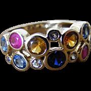 Vintage Mid Century Modern Multi Stone Ring