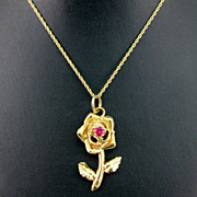 SALE Gold Rose Pendant with Ruby