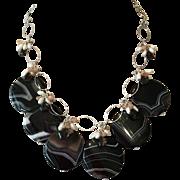 Sardonyx Circles AAA Smokey Quartz Moonstone Cultured Pearls Sterling Silver Necklace Set
