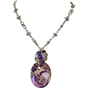 Purple Variscite Champagne Quartz Rose Quartz Sterling Beads Sterling Silver Necklace Set