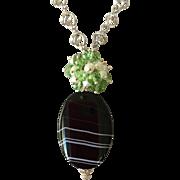 Black Sardonyx Swarovski Crystals Cultured Pearls Sterling Silver Necklace