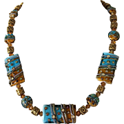 Caribbean Blue and Amber Lampwok Glass Beads Gold Vermeil Bali Beads Swarovski Necklace Set