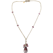 Bi Color Mystic Quartz Pink Topaz Tanzanite Rhodium Sterling Silver Necklace