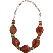 Large Banded Sardonyx Teardrops Sterling Silver Disc and Chain Necklace Set