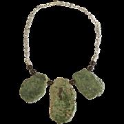 African Prase Jasper Slabs Smokey Brown Quartz Sterling Silver Necklace