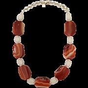 Orange Banded Sardonyx White Agate Sterling Silver Necklace