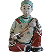 SOLD Japanese Antique Clay/ Pottery Banko Nodder Doll of an Imperial Court Musician