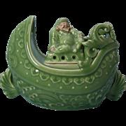 Japanese Kyoto Ware Rare Celadon Glaze Koro of a Hotei on a Ship by Famous ...