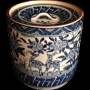 Japanese Vintage Kyoto Ware Porcelain Blue and White Porcelain Mizusashi or Lidded Canister
