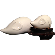 Japanese Arita Ware White Porcelain Pair of Nezumi Figures signed Seizan 青山, Kawazoe Aoyam