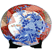 Japanese Antique Imari 伊万里 Large Porcelain Platter Lovely Blue Floral and Koshi-mon ...