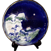 A 19th Century Japanese Antique Koransha Porcelain Plate Moonlit Scene