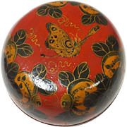 Chinese Vintage Fine Wooden Lacquered Gosu or Lidded Box Decorated  with Húdié and Huāhuì