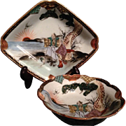 Kutani 九谷焼 Vintage Beautiful Porcelain Matching Plate and Bowl with Motif of Elderly ...