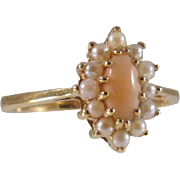 Estate VIntage 14k Natural Pink Salmon Coral and Pearl Ring