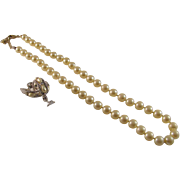 Vintage Monet Faux Creamy Pearl MM Set Silver Tone Earrings Gold Lock Necklace