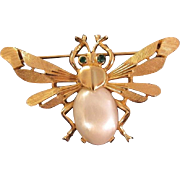 Trifari Mid-Century Figural Insect Pin Jelly Belly Pearl and Green Rhinestone eyes on Gold ...