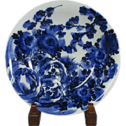 SALE Japanese ko-Imari Porcelain Large Platter in Indigo Blue and White Floral Painting