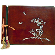 Japanese VIntage Lacquered Cherry Wood Photo Album with Shell Inlay