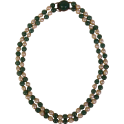 Japanese Vintage Cultured Pearl and Blue Green Jade Double Strand Necklace with Sterling Jade