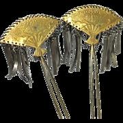 Japanese Antique Edo Period Pair of Ōgi- Bira Kinzashi 簪 of Copper and Bronze Fans ...