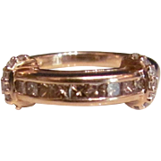 14k Rose Gold Vintage Ring  .52 Carat Champagne and White Diamond Ring Band with Appraisal