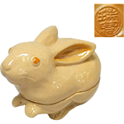 Japanese Vintage Kyoto Ware Pottery Kogo or Incense Box of Bunny Rabbit by Potter Zuiho ...
