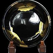 Large Japanese Antique 19th c Shikki 漆器 Iro-Urushi Lacquerware Bowl with Gold Makie