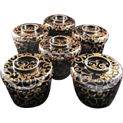 Japanese Antique Set Iro-urushi 色漆 Lacquerware Six Bowls with a Gold Maki-e Arabesque ...