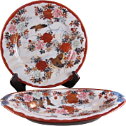 Japanese Antique Meiji Pair of Lovely Kutani Porcelain Plates Ko Kutani style