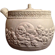 Japanese Antique Banko Ware 萬古 Pottery Small Sencha Teapot of Hotei and Many Children