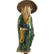 Chinese Vintage Mud Men Sage with a Large Peach