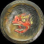 Japanese Vintage Huge Wood Bowl with Ueda Folk Art Shishi Lion 上田獅子 and ...