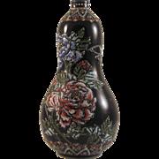 Japanese Antique Rare Tanzan Studios Miniature Black Gourd Floral Ornament signed Greatest ...