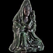 SALE Japanese Antique Rare Raku-yaki 楽焼 Okimono Sculpture of a Kannon-Bosatsu by the ...